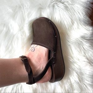 J Crew Ankle Strap Brown Suede Clogs Size 8